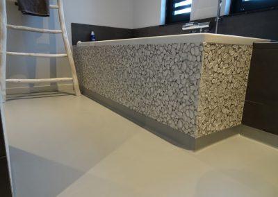 PU betonlook gietvloer met plint woonhuis Berghem